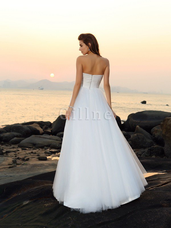 A-Line Sleeveless Empire Waist Long Wedding Dress