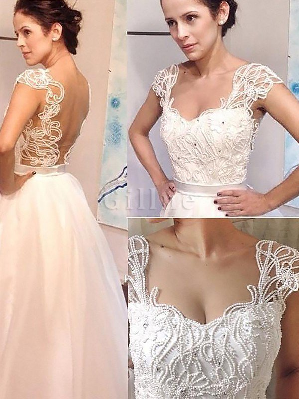 Natural Waist A-Line Sleeveless Sweetheart Wedding Dress