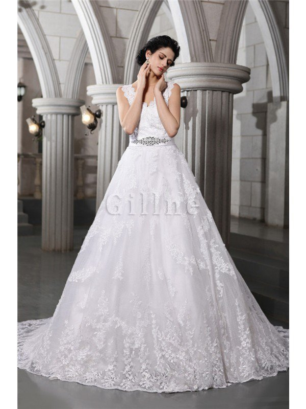 Beading Appliques Organza Zipper Up Sleeveless Wedding Dress
