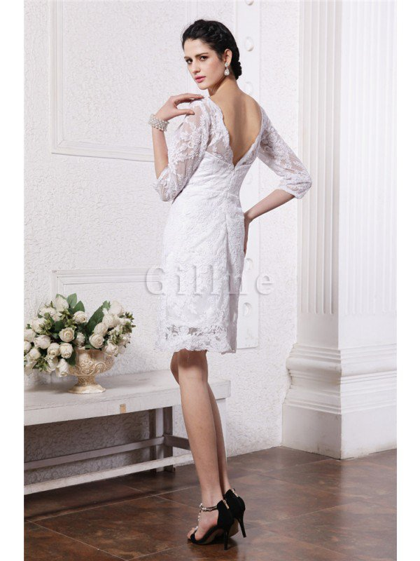 Sheath Empire Waist Lace Half Sleeves Short Wedding Dress