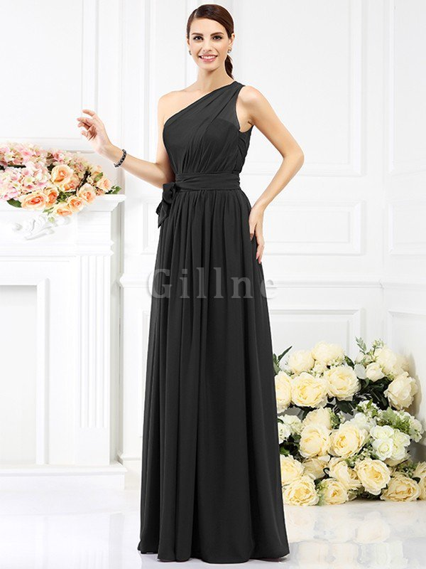 Long Sleeveless A-Line One Shoulder Bridesmaid Dress