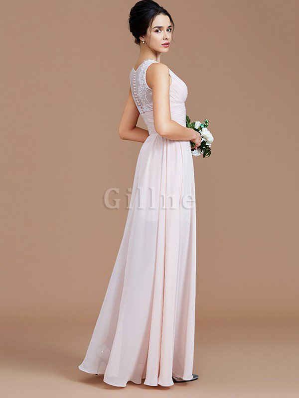 Ruched Zipper Up Natural Waist Jewel Sleeveless Bridesmaid Dress