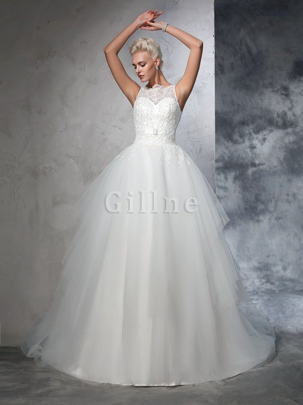 Chapel Train Bateau Empire Waist Appliques Ball Gown Wedding Dress
