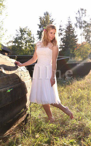 Simple Lace Fabric Sweetheart Tea Length Pleated Wedding Dress