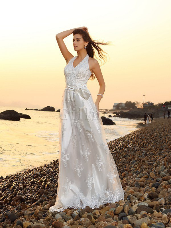 Sleeveless Princess Zipper Up Lace Wedding Dress
