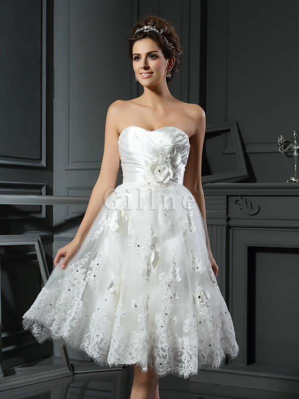 Empire Waist A-Line Ruched Satin Wedding Dress