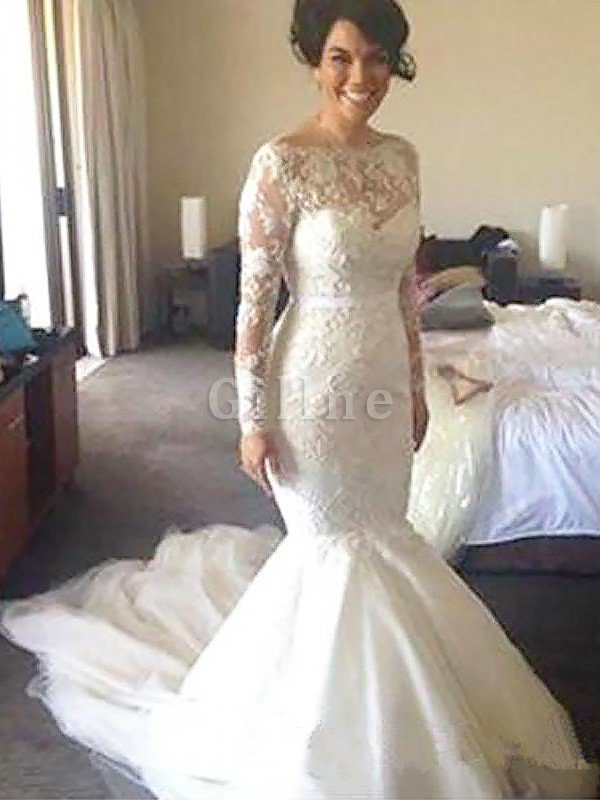 Natural Waist Appliques A-Line Long Sleeves Wedding Dress