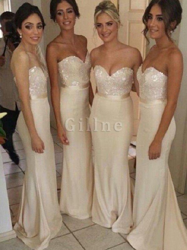 Floor Length Misses Mermaid Sweetheart Natural Waist Bridesmaid Dress