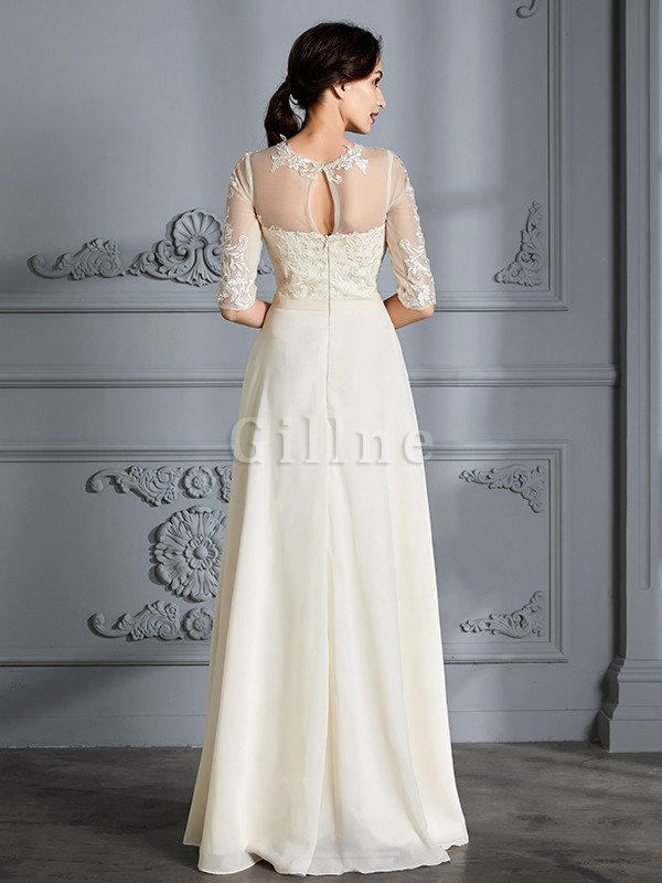Natural Waist A-Line Scoop Half Sleeves Wedding Dress