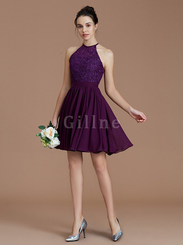 A-Line Short Halter Natural Waist Bridesmaid Dress