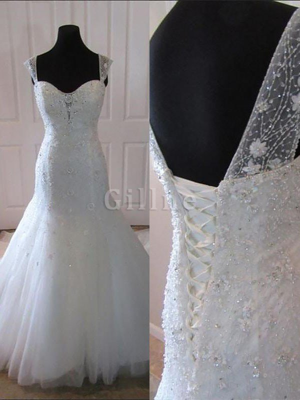 Natural Waist Court Train Sleeveless Spaghetti Straps Tulle Wedding Dress