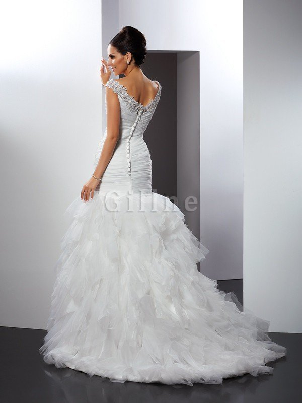 Mermaid Long Sleeveless Appliques Cathedral Train Wedding Dress