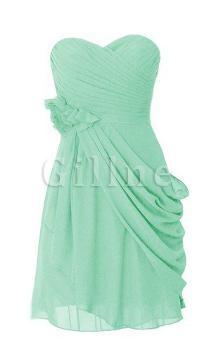 Sweetheart Draped Sleeveless Flowers Chiffon Bridesmaid Dress