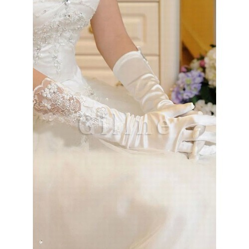 Satin With Application White Modern Bridal Gloves