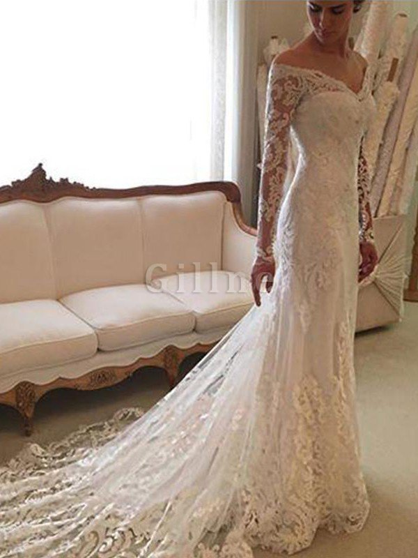 Off The Shoulder Lace Sheath Long Sleeves Court Train Wedding Dress