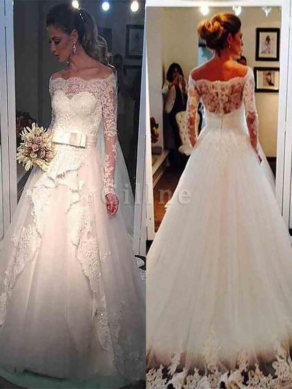 Long Sleeves Natural Waist Tulle Off The Shoulder Sweep Train Wedding Dress