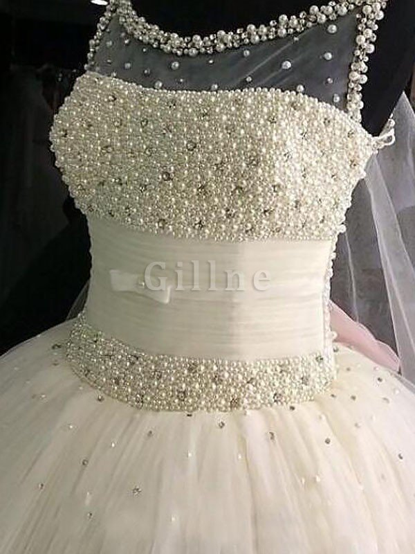 Beading Floor Length Sleeveless Ball Gown Natural Waist Wedding Dress