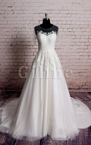 Appliques Capped Sleeves Jewel Natural Waist Floor Length Wedding Dress