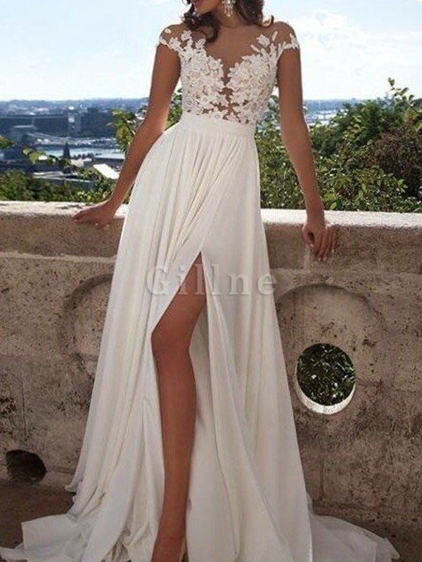Scoop Appliques Short Sleeves Floor Length Princess Wedding Dress