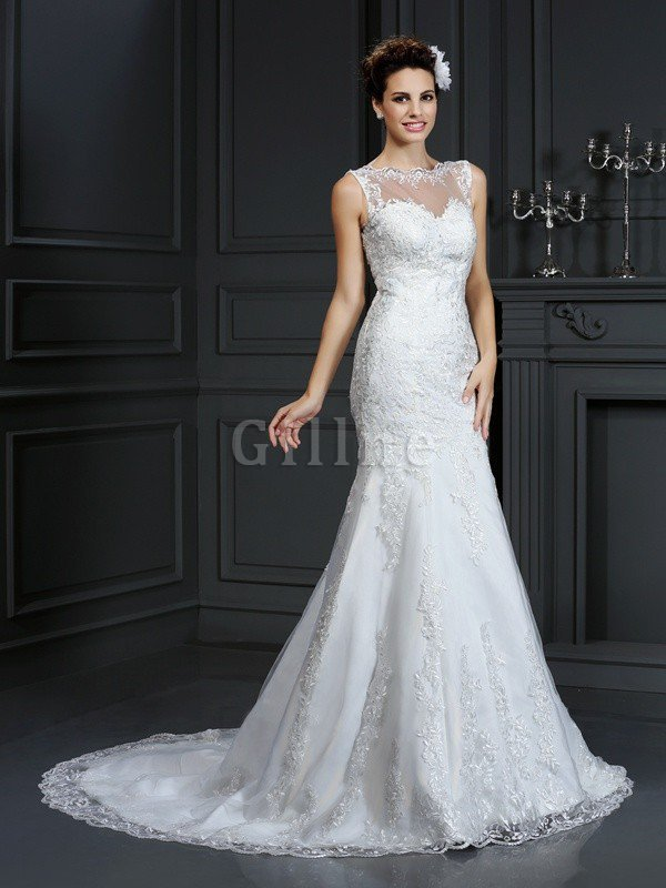 Sleeveless Natural Waist Court Train Sheath Lace Wedding Dress