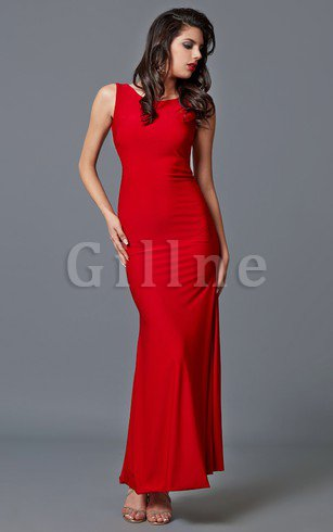 Keyhole Back Sleeveless Pleated Scoop Evening Dress