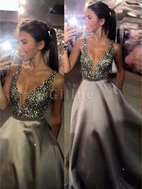 Sleeveless Satin Sweep Train Natural Waist Beading Evening Dress