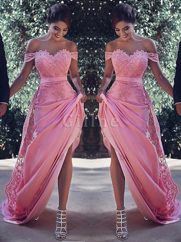 Sheath Satin Silk Like Satin Natural Waist Lace Prom Dress