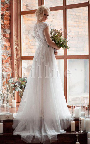 Scoop Tulle Beading Short Sleeves Button Wedding Dress