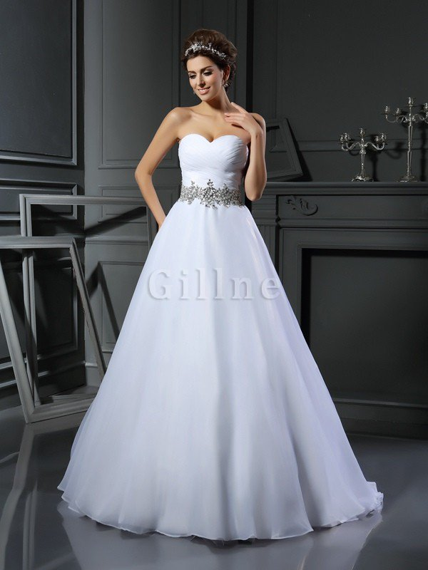 Beading Ball Gown Sleeveless Satin Long Wedding Dress