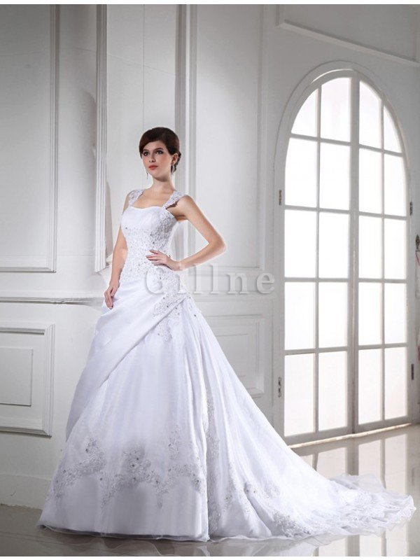 Organza Beading Sleeveless Empire Waist Strapless Wedding Dress