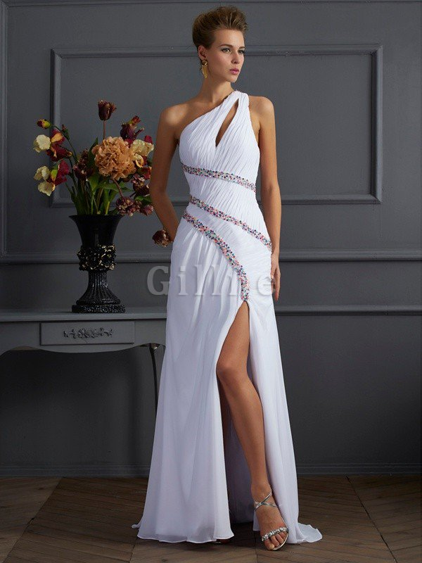 Sheath Sweep Train Long One Shoulder Beading Prom Dress