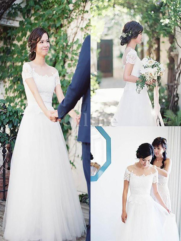 Sweep Train Bateau Natural Waist A-Line Tulle Wedding Dress