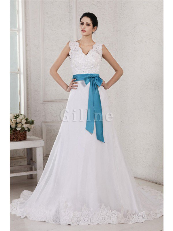 V-Neck Empire Waist Sashes A-Line Appliques Wedding Dress