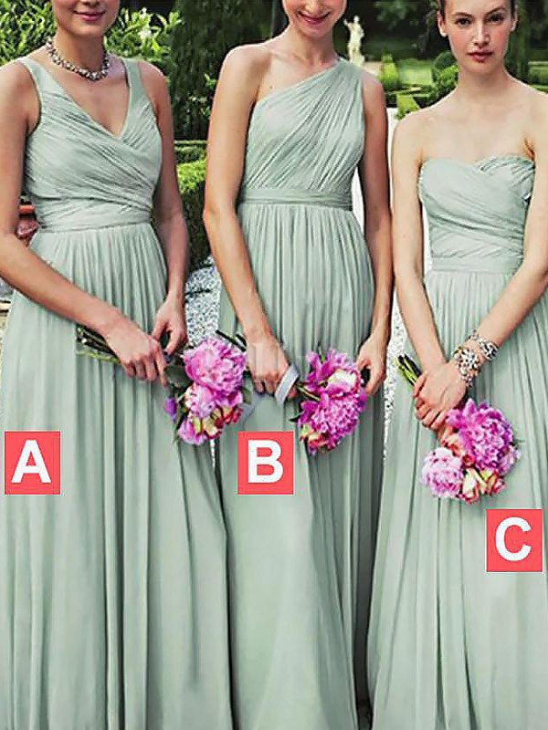 Natural Waist Chiffon Sleeveless Floor Length A-Line Bridesmaid Dress