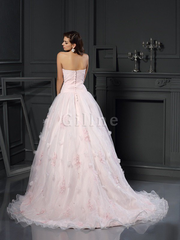 Sleeveless Long Satin Ball Gown Sweetheart Wedding Dress