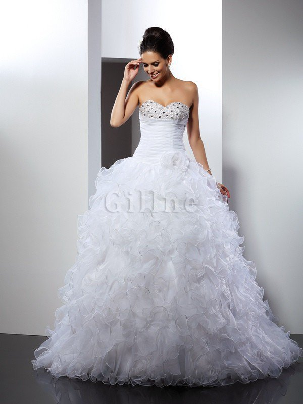 Long Sleeveless Beading Cathedral Train Lace-up Wedding Dress