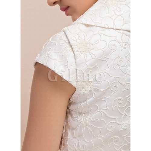 Elegant Taffeta Simple White Bolero
