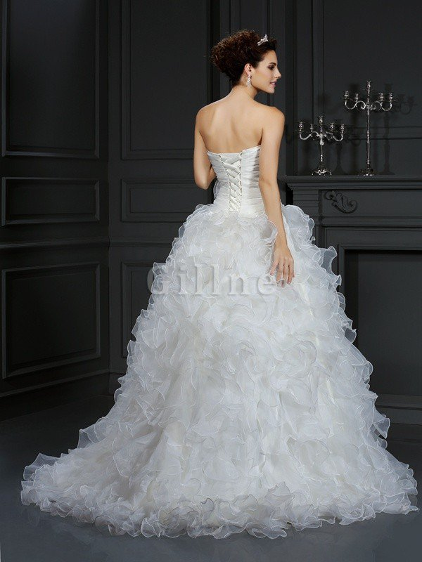 Organza Flowers Sweetheart Court Train Lace-up Wedding Dress