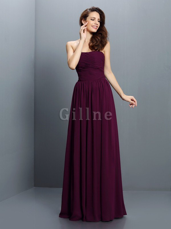 Strapless A-Line Pleated Zipper Up Bridesmaid Dress