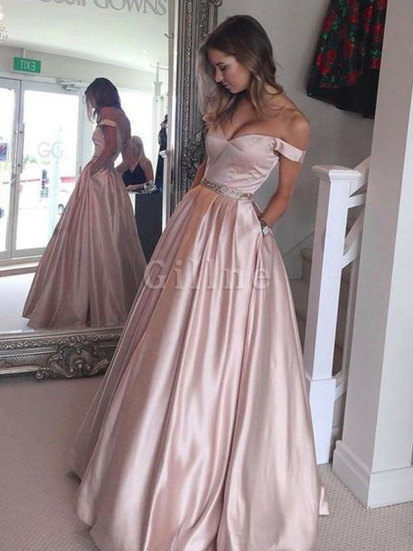 Off The Shoulder Sleeveless A-Line Natural Waist Evening Dress