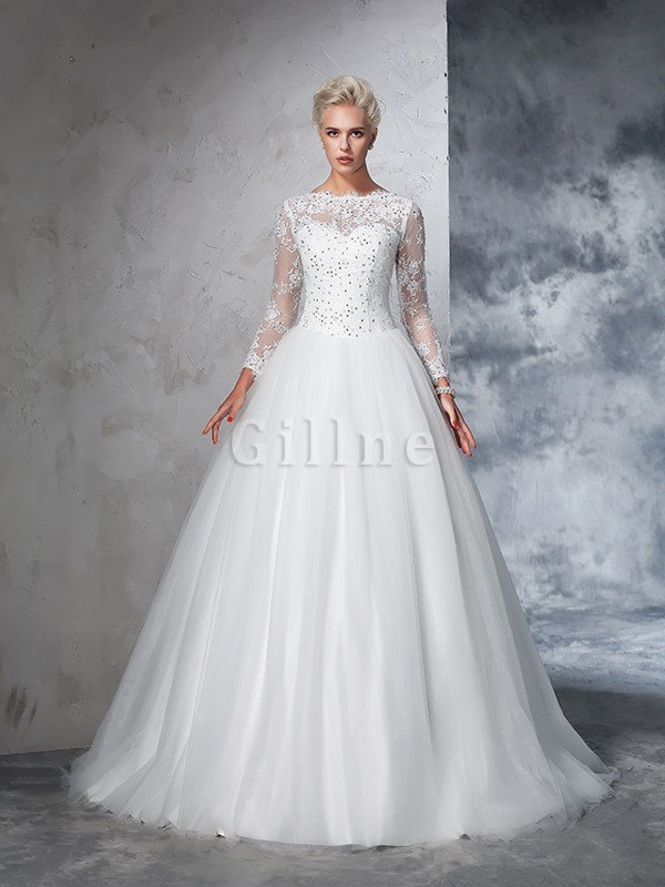 Sweep Train Long Zipper Up Ball Gown Long Sleeves Wedding Dress