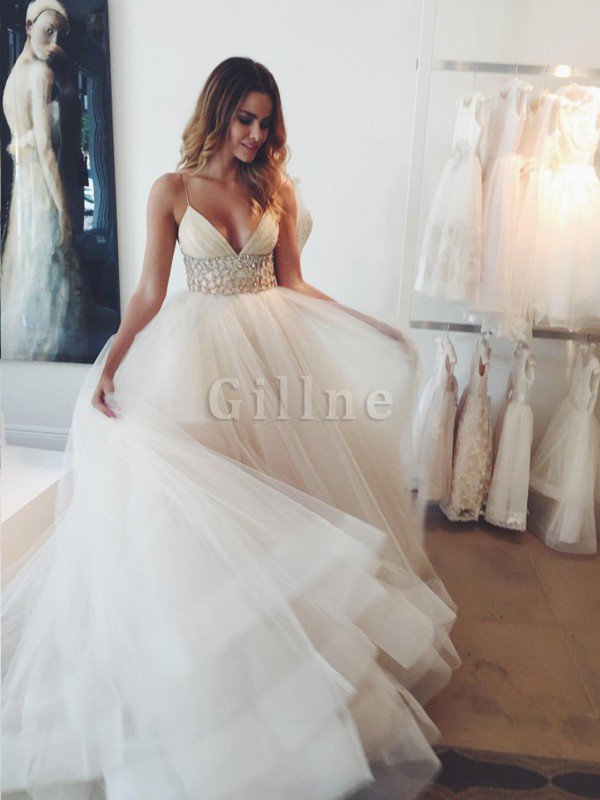Tulle Natural Waist Court Train Spaghetti Straps Ball Gown Wedding Dress