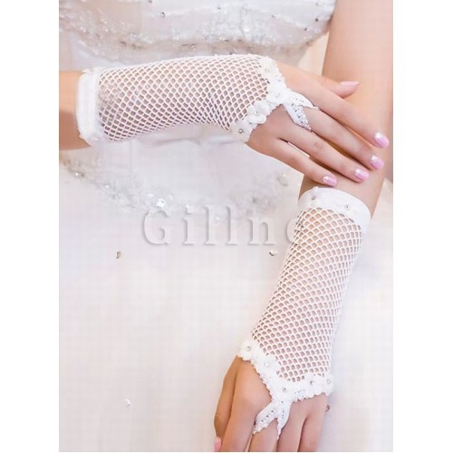 Tulle With Application White Chic | Modern Bridal Gloves