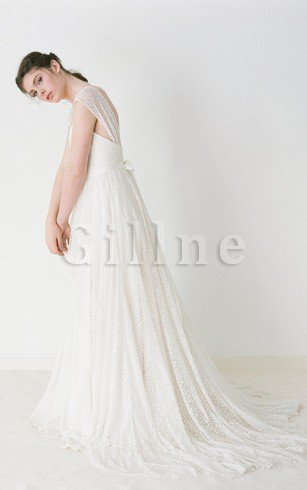 Lace-up Beach A-Line Lace Short Sleeves Wedding Dress