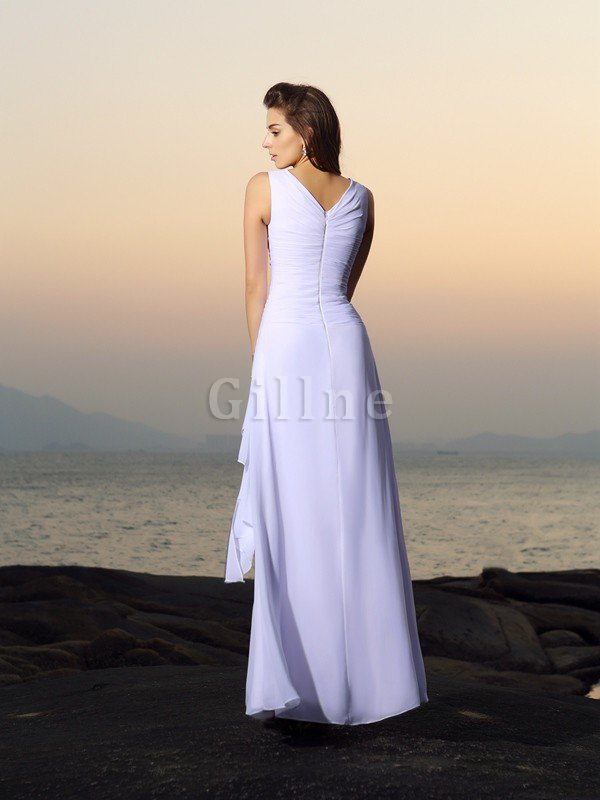 Beading Sleeveless A-Line Zipper Up Empire Waist Wedding Dress