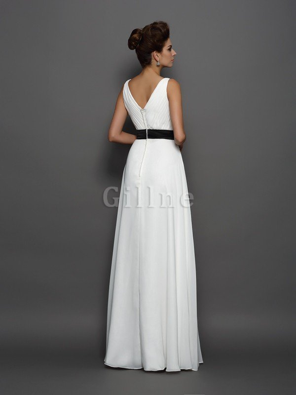Long Sashes Chiffon Princess Empire Waist Wedding Dress
