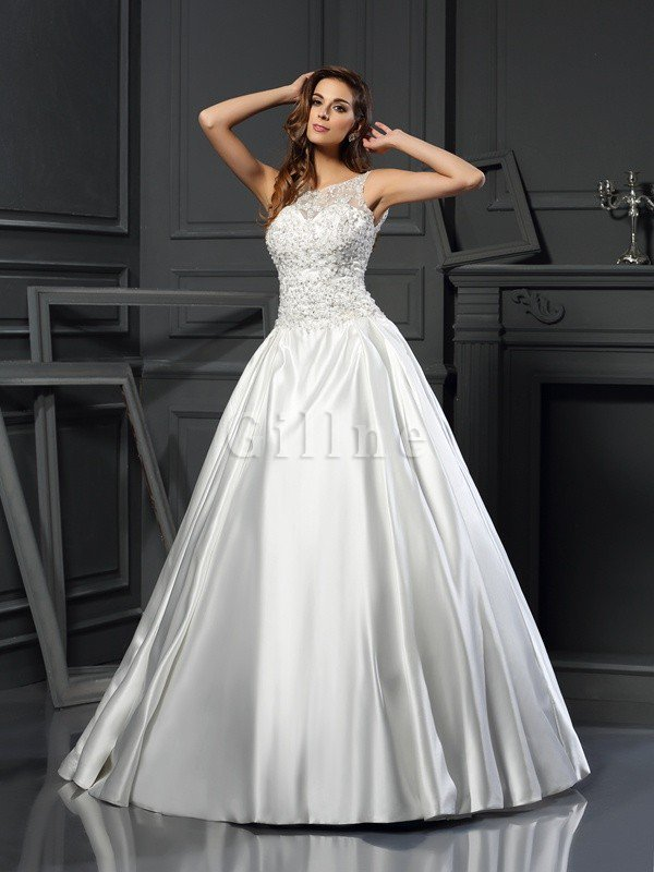 Chapel Train Appliques Zipper Up Ball Gown Empire Waist Wedding Dress