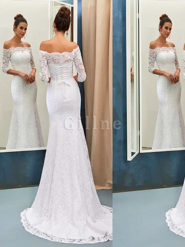 Natural Waist Off The Shoulder Long Sleeves Sweep Train Lace Wedding Dress