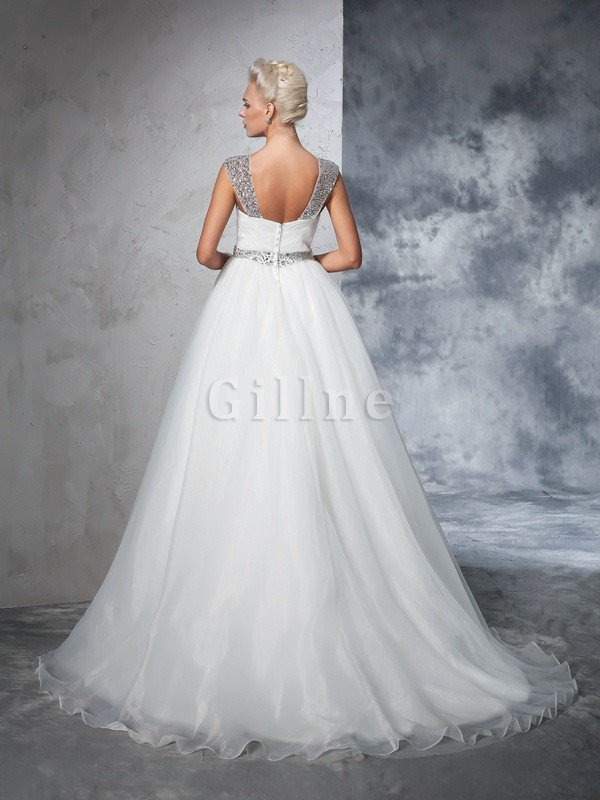 Ball Gown Spaghetti Straps Sleeveless Ruched Empire Waist Wedding Dress