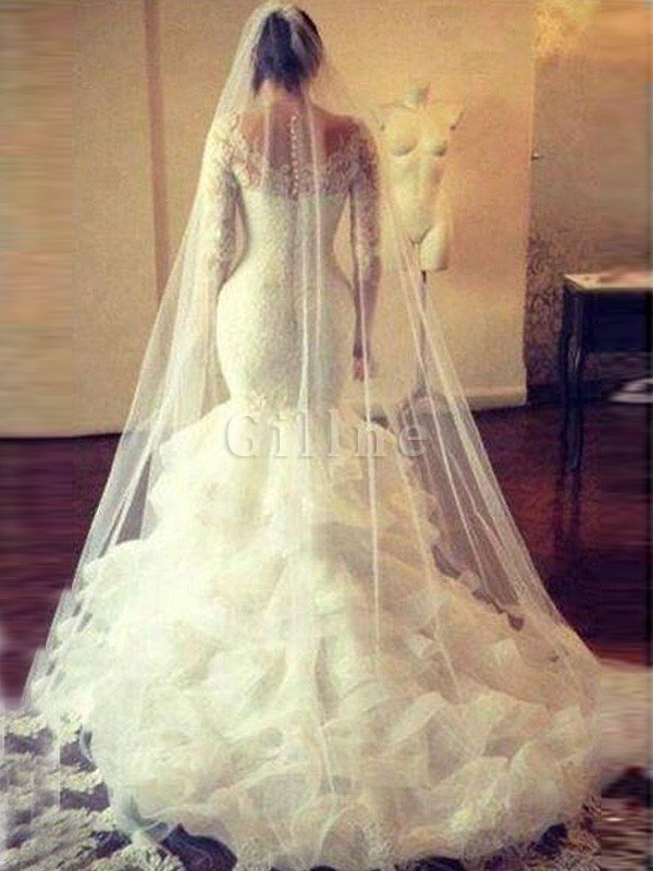 Long Sleeves Mermaid Tulle Natural Waist Scoop Wedding Dress